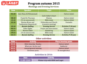 Laget Program Autumn 2015