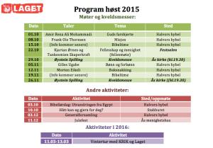 Laget Program Høst 2015
