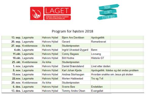 Program Høsten 2018